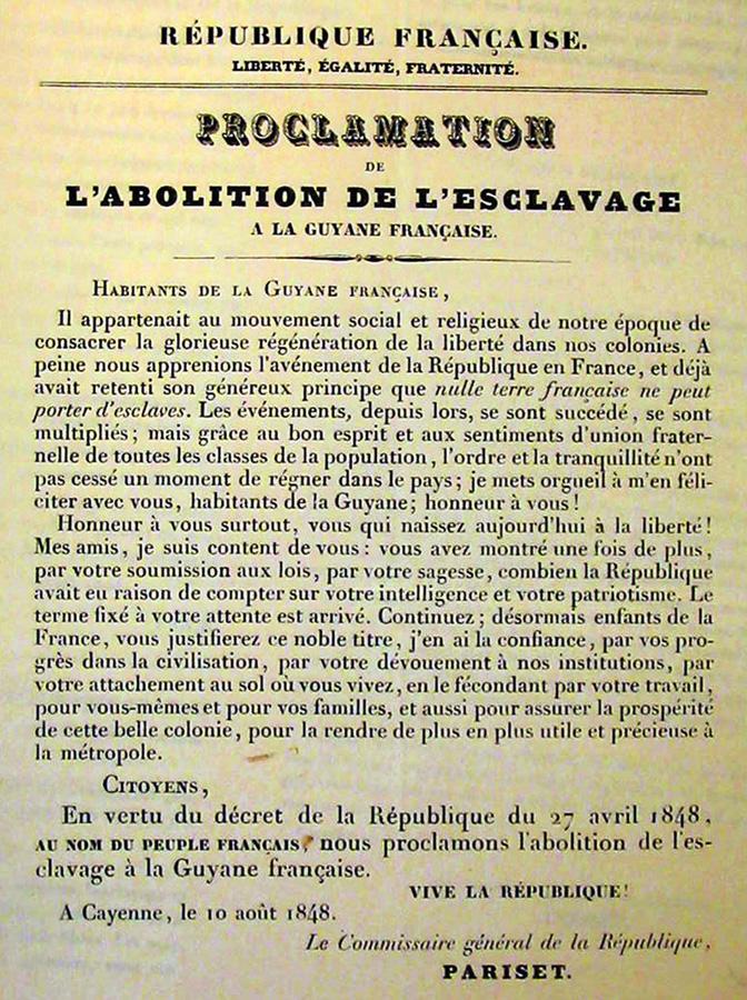 Déclaration de l'abolition de l'esclavage en Guyane