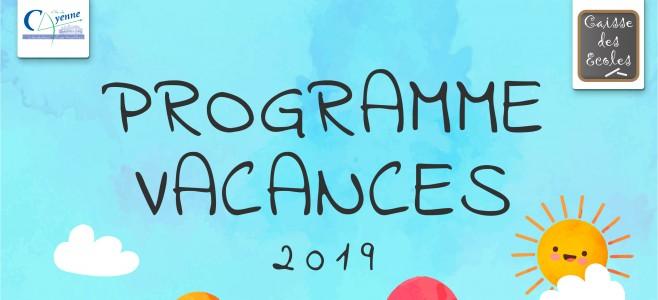 Programme des vacances 2019